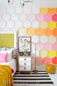 A feature wall in neon spring colours