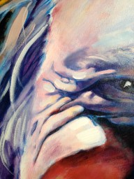 Close up of Barbara Vanderlinden's painting, from the Faces of Canberra exhibition
