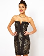Lipsy Bandeau Lace Dress with Grosgrain Panelling