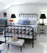Great wrought iron bed from Ikea which can be teamed with any combination to make a bedroom more 'homely'