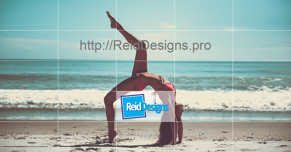 Facebook Advertising template image with a grid to show text area.