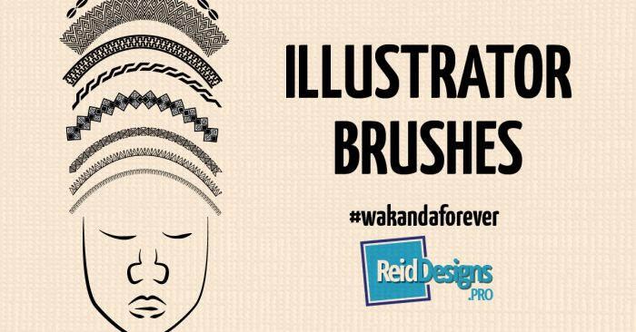 "A stylised drawing of an African woman in a headdress with the title ""Illustrator Brushes"" Free Wakanda Graphics"