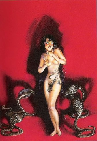 four black menacing cobras surround a naked long haired damsel on a flat red background. original painting for the November 1935 issue of WEIRD TALES
