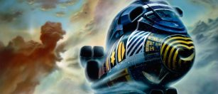 A Chris Foss painting a ship taking off in atmosphere