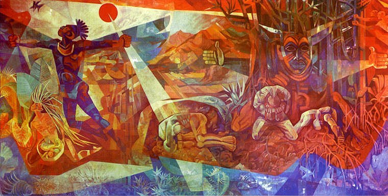The Inherent Nobility of Man mural by Carlisle Chang in 1961