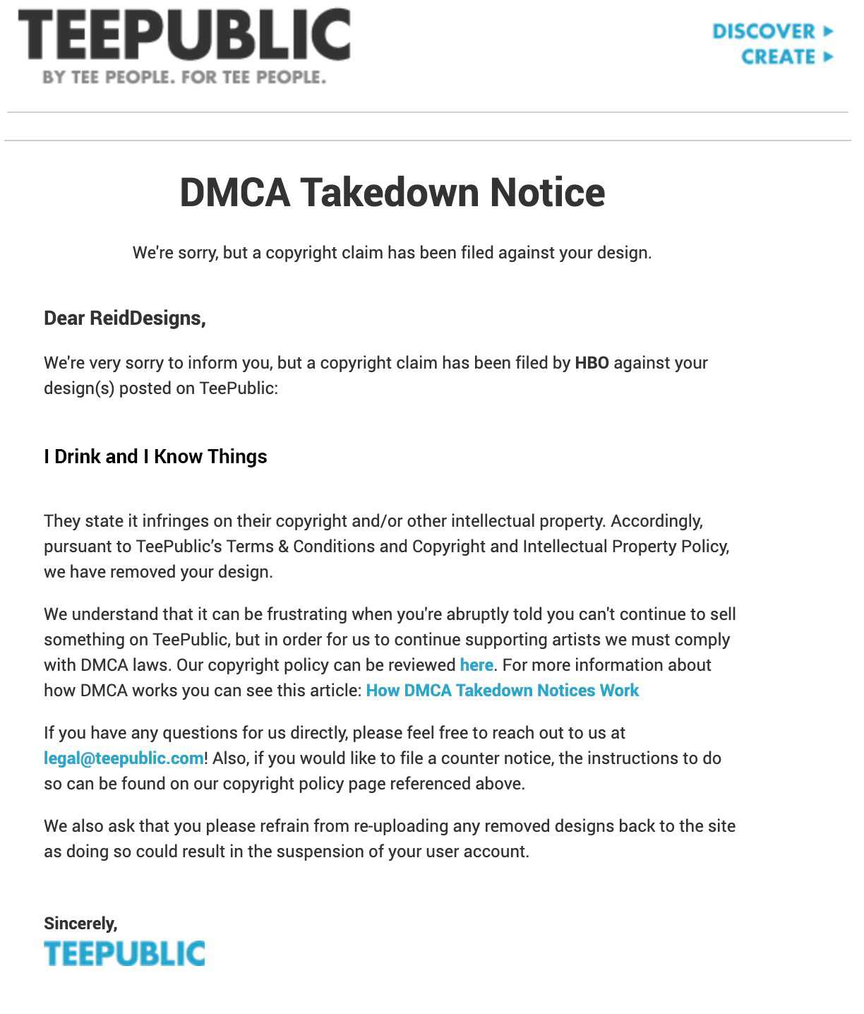 DMCA Email Letter fro Teepublic.com