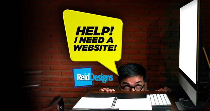 """Man crouching down afraid of blank computer with a speech bubble that says """"Help! I need a website!"""""""