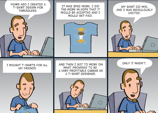 a cartoon showing how a guy started a teespring store and doing spec work expected to make tons of money. He didn't.