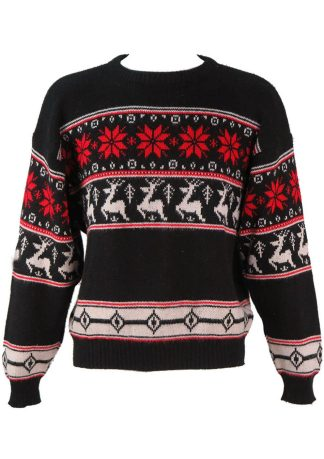 904089114a Black Nordic Style Jumper with Red   White Reindeer Pattern – L   XL