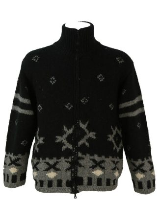 c0580b2585 Chunky Black and Grey Nordic Style Zip Front Wool Cardigan – L XL