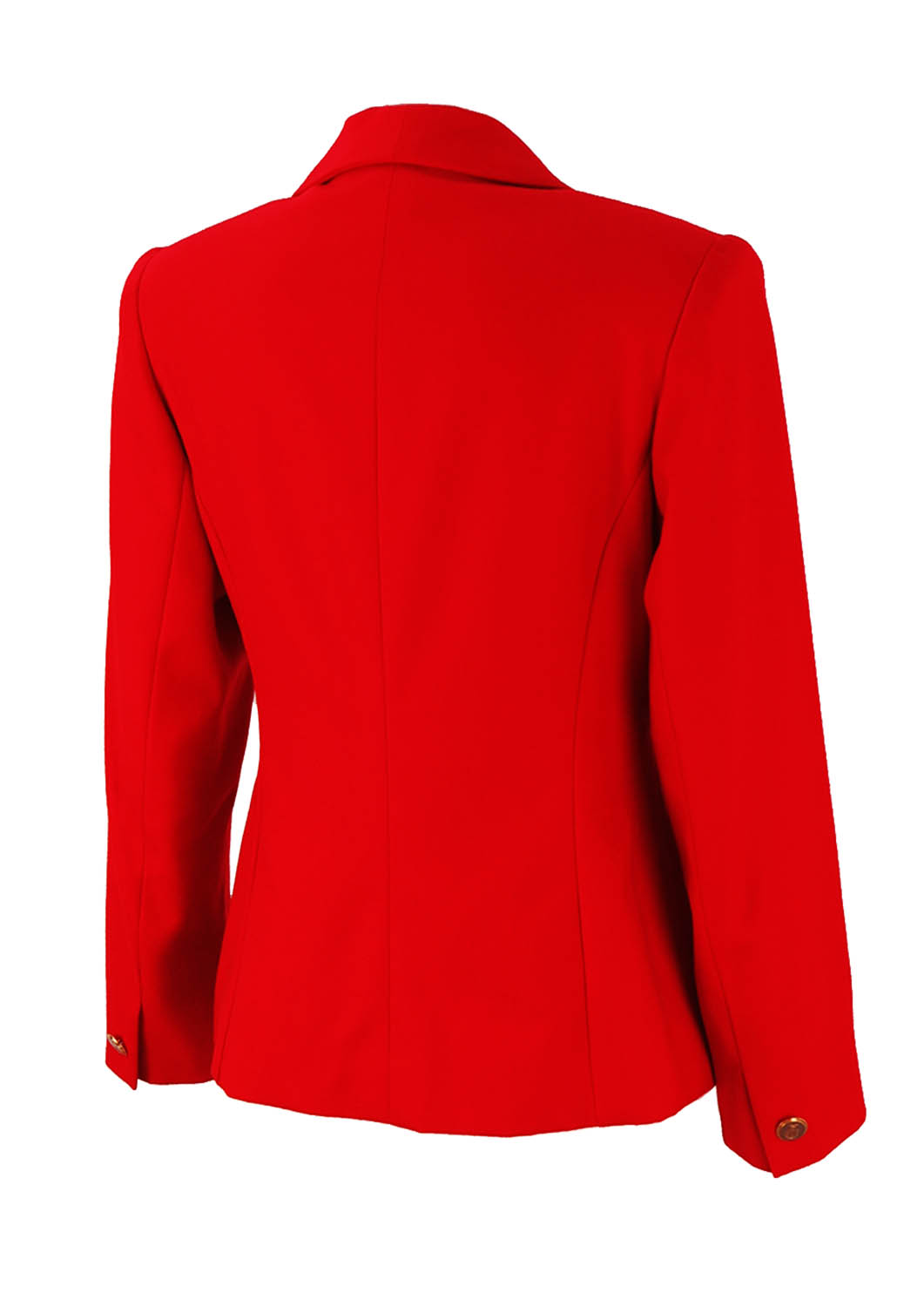 Military Style Fitted Red Jacket With Gold Buttons M