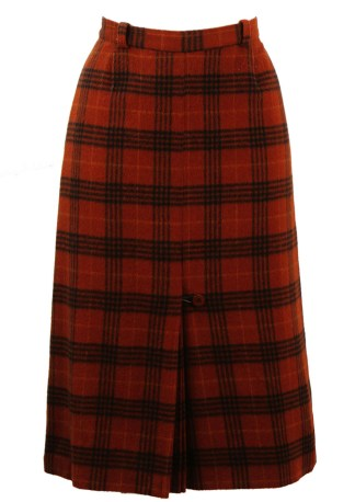 4cc2d6c528 Wool Midi Skirt with a Russet & Black Check Pattern & Front Pleat Detail – S