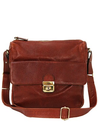 Textured Tan Leather Shoulder Bag with Front Pouch   Adjustable Strap 5171445cea