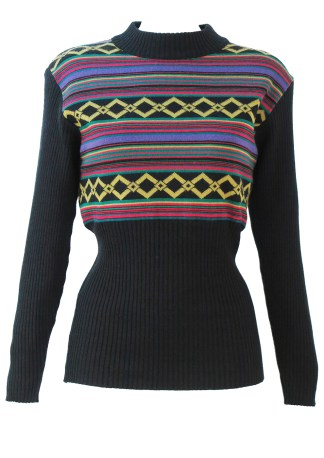 2cac356fb64804 Black Ribbed Jumper with Purple, Lime, Pink & Green Stripe & Diamond Pattern  – M