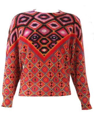 2e5a4f1a567208 Wool Jumper with Multi Coloured Aztec Pattern & Bead Detail – S/M