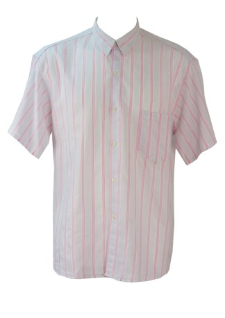 a93f64eff90975 Short Sleeve White Shirt with Pastel Pink   Fine Grey Striped Pattern – L XL