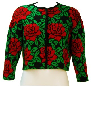 1dee2c27ef Kenzo Cropped Cardigan with Bold Red & Green Rose Pattern – M
