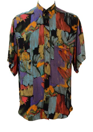d0fa60beacadb Vintage 90 s Short Sleeved Abstract Floral Patterned Multicoloured Shirt – L  XL