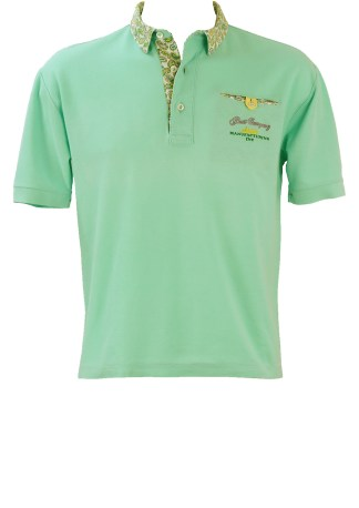 ae5fcb716 Olmes Carretti Best Company Light Blue Polo Shirt with Paisley Collar  Detail – M