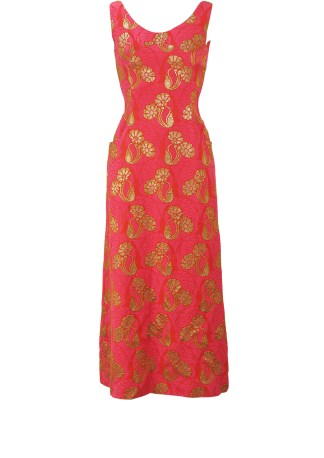 97cbb9859fc4 Vintage 70's Red & Fuchsia Pink Long Sleeveless Evening Maxi Dress with  Metallic Gold Floral Detail – XS/S