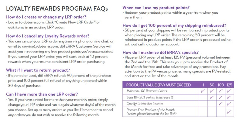 doterra loyalty rewards faq