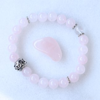 reiki charged rose quartz bracelet