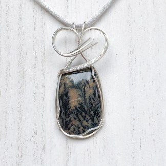 reiki charged dendritic jasper pendant