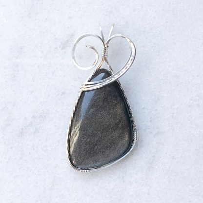 reiki charged silver sheen obsidian pendant