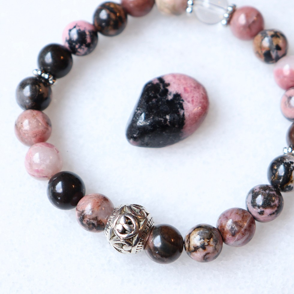reiki charged rhodonite bracelet
