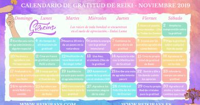 Gratitud Reiki Calendario Noviembre 2019