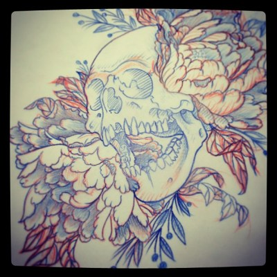 #skull & #peony  #スカル #牡丹 #sketch #tattoo #tattoodesign #irezumi