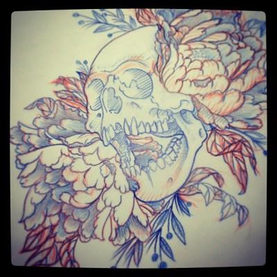 #skull & #peony  #スカル #牡丹 #sketch #tattoo #tattoodesign #irezumi