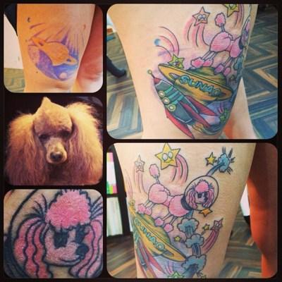 coverrrrrr〜 (@・`ω´・)σ ☆ #coverup #Saturn #orb #poodle #rocket #カバーアップ #土星 #プードル #ロケット#tattoo #thigh #タトゥー