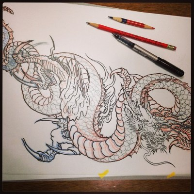 #sketch #dragon #tattoo #irezumi #下絵 #龍 #刺青 #タトゥー