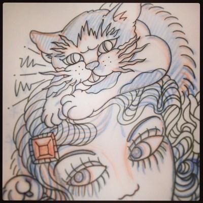 #悪猫#ドルバッキー(*´艸`*) ふふふ #tattoo #tattoodesign #sketch #cat#タトゥー #デザイン #猫