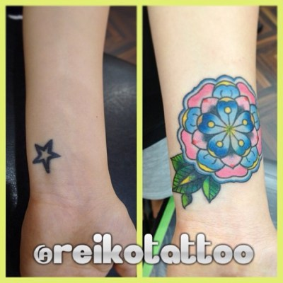 #coverup #flower #tattoo  #カバーアップ #花 #タトゥー