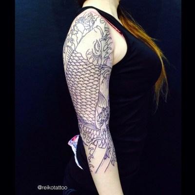 #koi #tattoo #outline #improgress #japanese #鯉 #牡丹 #タトゥー