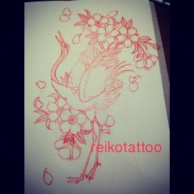 #crane #sakura #sketch #tattoo