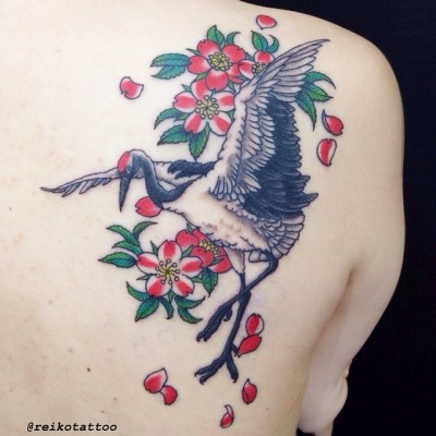 #crane #redcrownedcrane #cherryblossom #tattoo #鶴 #桜 #タトゥー