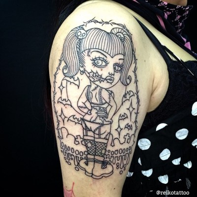 #zombie #girl #outline #tattoo #ゾンビ #ガール #タトゥー #reikotattoo #studiokeen #名古屋 #大須 #矢場町