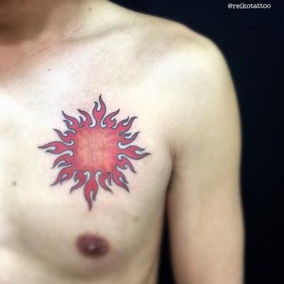 #circle #flame #sun #tattoo #太陽 #炎 #reikotattoo #studiokeen #名古屋 #大須 #矢場町
