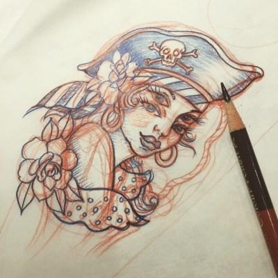 #sketch  #foureyes #pirategirl #tattoo #四つ目 #パイレーツ #タトゥー #デザイン #reikotattoo #studiokeen #名古屋 #大須 #矢場町
