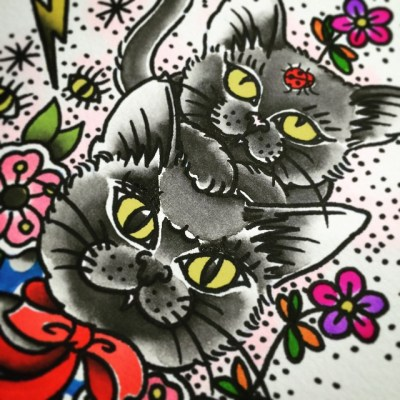 #painting #watercolor #cat #reikotattoo #studiokeen #名古屋 #大須 #矢場町