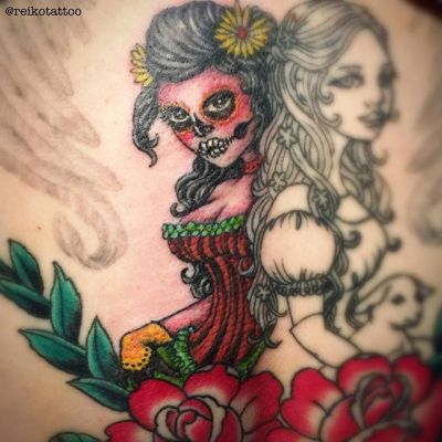 in progress #girl #rose #tattoo #hocuspocustattoo #reikotattoo #studiokeen #少女 #バラ #タトゥー #ホーカスポーカスタトゥー #静岡 #名古屋 #大須 #矢場町 #レイコタトゥー #スタジオキーンreikotakagi@mac.com