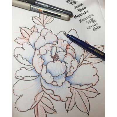 #牡丹 #sketch #筆ペン#kuretakebrushpen #zebrabrushpen #peony #tattoo #design #reikotattoo #studiokeen #名古屋 #矢場町 #大須
