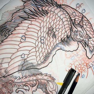 #sketch #houou #Japanesephoenix #タトゥーデザイン ...#tattoo #reikotattoo #studiokeen #japan #nagoyatattoo #tokyotattoo #irezumi #タトゥー #刺青 #名古屋 #大須 #矢場町 #東京