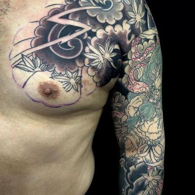 Progress #fujin #風神...#tattoo #reikotattoo #studiokeen #japan #nagoyatattoo #tokyotattoo #irezumi #タトゥー #刺青 #名古屋 #大須 #矢場町 #東京