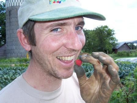 We paid Dave for his hours of work with one of the first raspberries of the season.