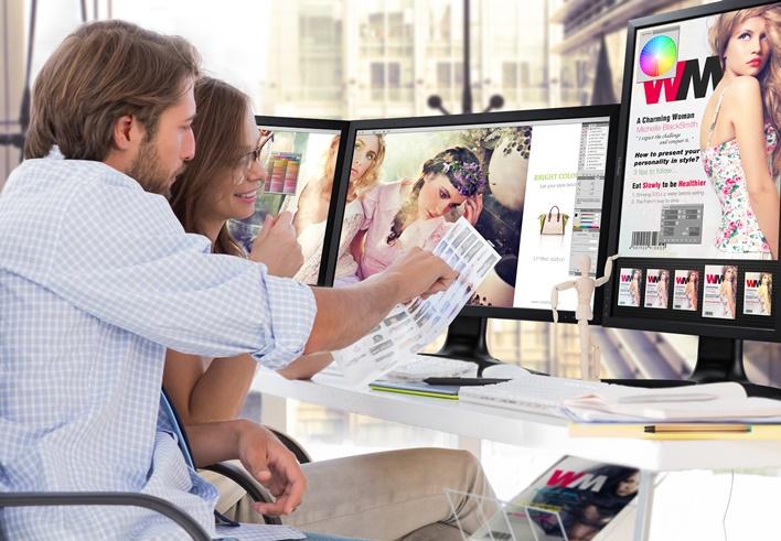 Photo editors viewing contact sheet
