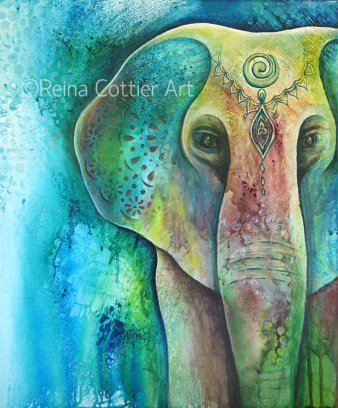 Mixed Media elephant , inks and acrylics, by Reina Cottier